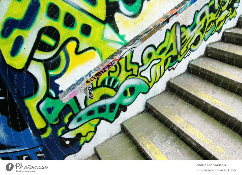 A staircase in Freiburg. Pattern Abstract Background picture Multicoloured Green Cyan Yellow Painting and drawing (object) Spray Ornament Art Gray Street art
