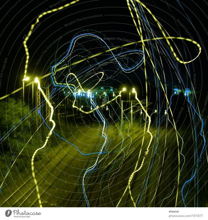 Green Beautiful Blue Joy Black Yellow Street Dark Instant messaging Back Railroad Bridge Stand Good Exceptional Railroad tracks