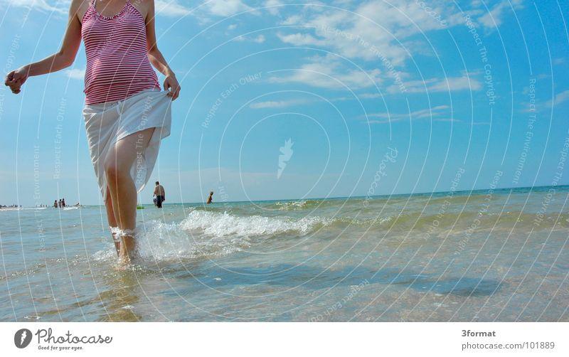 Woman Blue Water Vacation & Travel Ocean Summer Beach Joy Clouds Calm Emotions Warmth Freedom Coast Lake Horizon