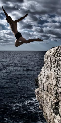 flapping Joy Happy Healthy Athletic Swimming & Bathing Vacation & Travel Adventure Freedom Summer Ocean Climbing Mountaineering cliff diving Human being