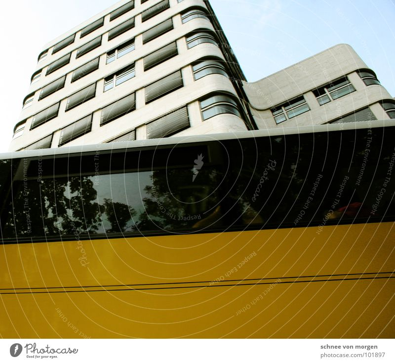 against the world, against the line... Waves Yellow Modern Berlin fahrenkamp Bus Gasag house in waves Sky pass Blue
