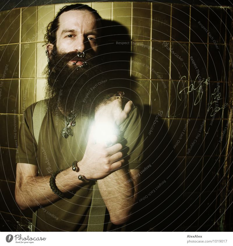 seemingly in time Room Tile Gold Night life Man Adults Face Hand Facial hair 30 - 45 years T-shirt Jewellery Piercing Clock Black-haired Long-haired Beard