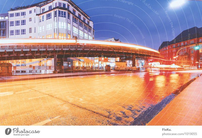 elevated railway Hamburg Town Port City Downtown Transport Traffic infrastructure Passenger traffic Public transit Road traffic Motoring Train travel Street