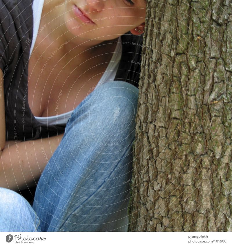 Woman Tree Calm Loneliness Feminine Emotions Warmth Think Moody Grief End Divide Distress Feeble Prop Lean