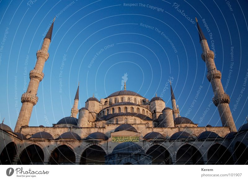 Beautiful Sky Blue Religion and faith Might Historic God Deities Islam Istanbul Size Near and Middle East Blue Mosque House of worship Minaret