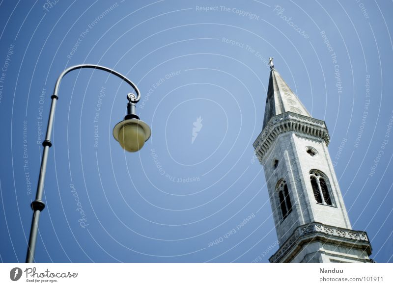 Sky Blue Summer Above Religion and faith Lamp Bright Germany Lighting Back Tall Tower Roof Munich Lantern Historic