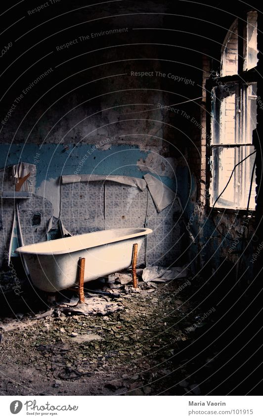 Bath Chaos Bathroom Room Devastated Dirty Bathtub Rustic Building rubble Trash Wallpaper Broken Grief Loneliness Untidy Harmful Creepy Window Laundry