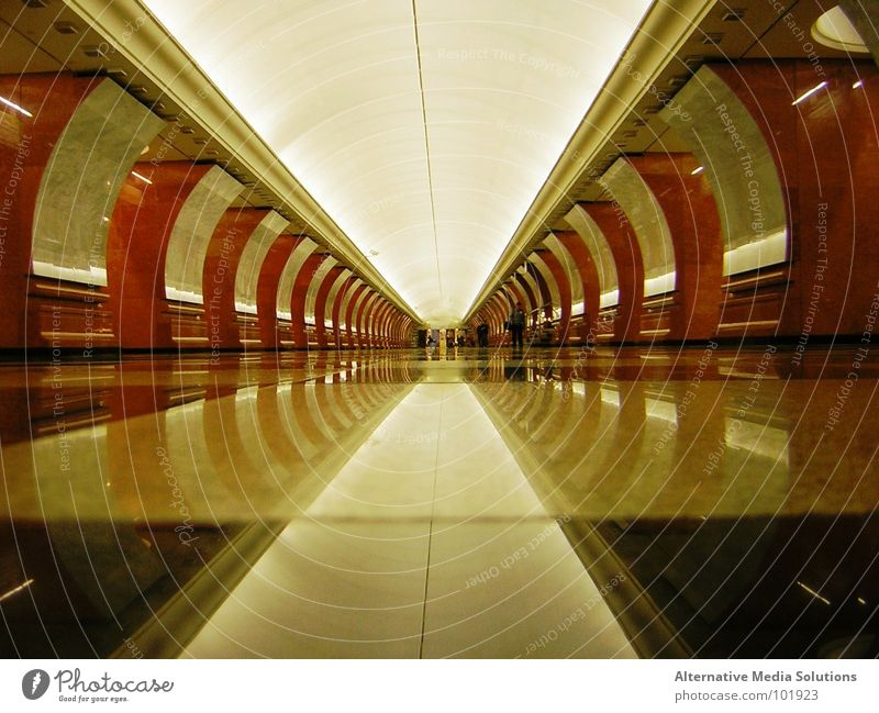 Moscow Metro Underground Tunnel Reflection Symmetry Far-off places Russia