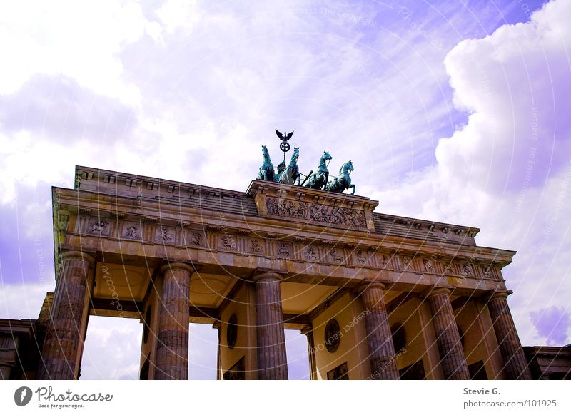 Berlin horse tour Horse Worm's-eye view Building Monument Landmark Sky Brandenburg Gate