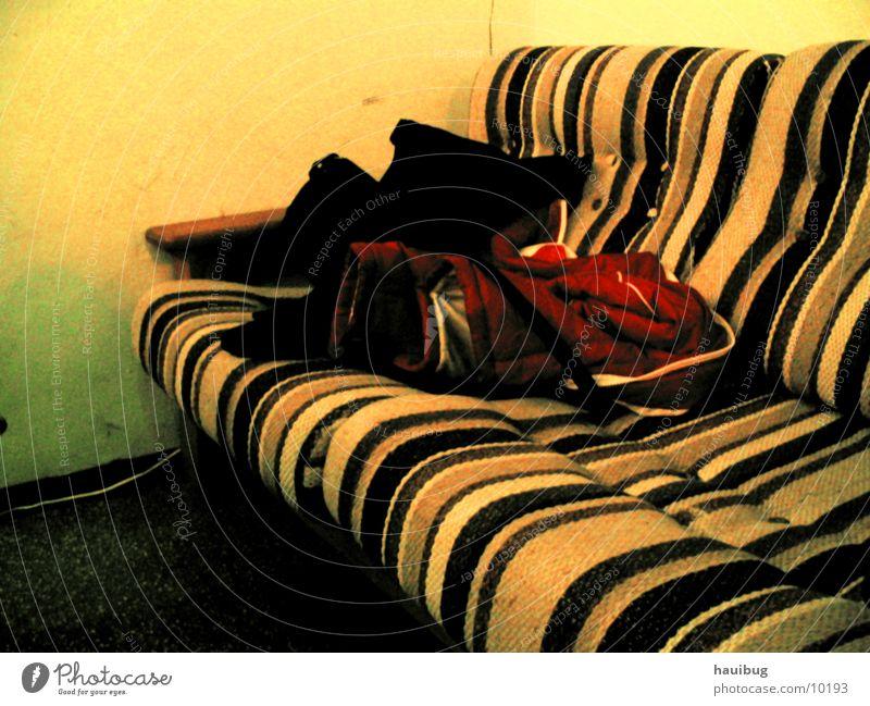 old sofa Sofa Comfortable Yellow Stripe Living or residing Sit Lie Old