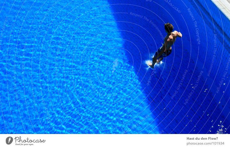 Man Water Blue Gray Jump Orange Brown Waves Wet Speed Swimming pool Dive Tile Strong Brave Guy