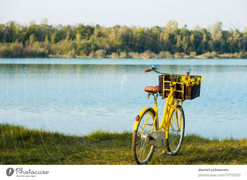 season opening Swimming & Bathing Leisure and hobbies Trip Cycling tour Summer Beautiful weather Lakeside Relaxation Blue Yellow Green Lake Baggersee Bicycle