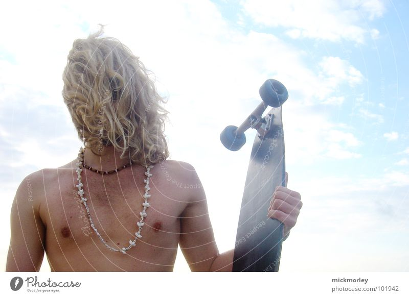 Sky Sun Summer Beach Sports Naked Playing Hair and hairstyles Wild animal String Skateboard Wooden board Mussel Nipple Hippie Surfboard