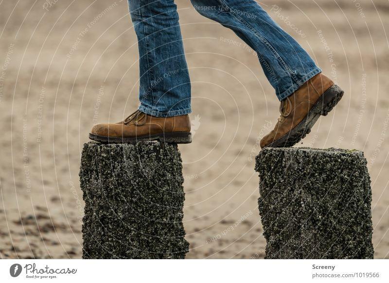 gradual Legs Feet 1 Human being Sand Beach North Sea Mole Jeans Footwear Going Blue Brown Bravery Optimism Success Serene Self Control Fear of heights Adventure
