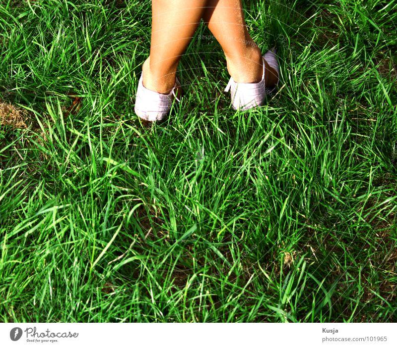 Woman Green Meadow Grass Feet Footwear Back Stockings Straw