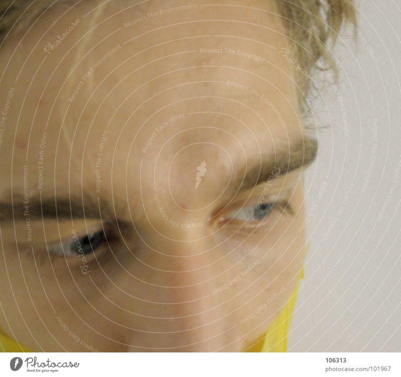 EXPRESSION > SHARPNESS = 100% [0125/06] Ask Devil Blindfold Connectedness Vision Scythe Man Adhesive tape Performance art Art Esthetic Contents Yellow Skeleton