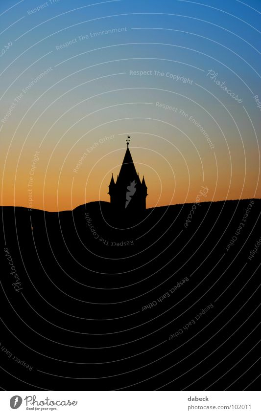 silhouette Sunset Color gradient Play of colours Red Black House of worship Religion and faith Silhouette Blue Orange