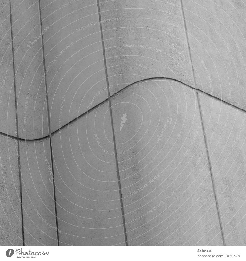 structured dynamics Wall (barrier) Wall (building) Facade Gray Curved Line Structures and shapes Concrete Black & white photo Exterior shot Close-up