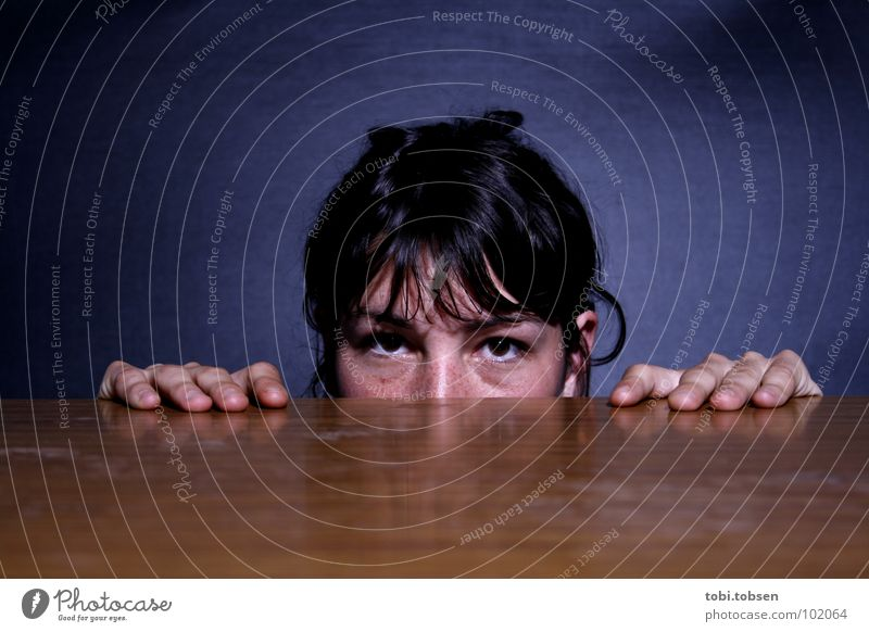 Woman Hand Blue Face Black Wood Hair and hairstyles Brown Fear Nose Rope Table Observe Hide Patch Panic