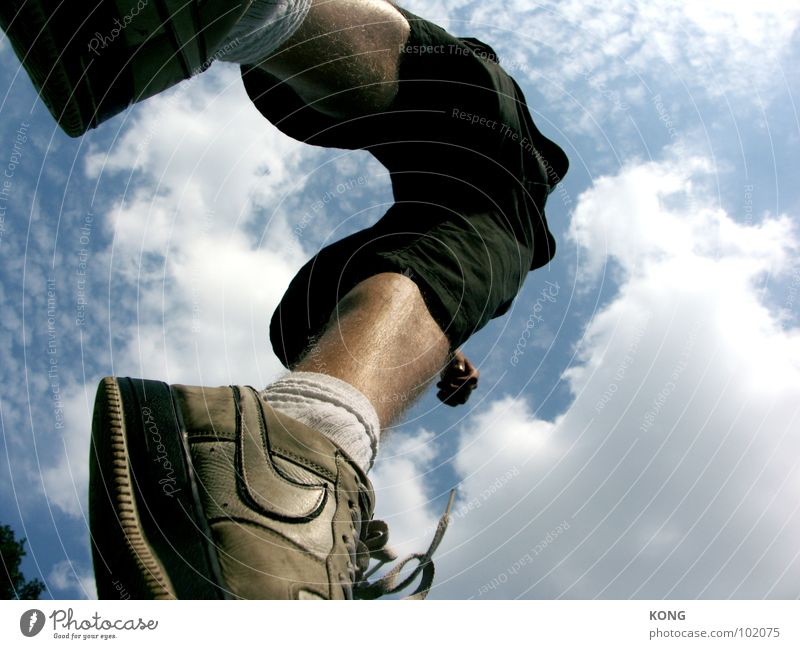 up up and away Jump Sky Clouds Worm's-eye view Sneakers Summer Applause Joy Funsport Upward Above go up in the air Athletic Dynamics Sportsperson Tall capriole