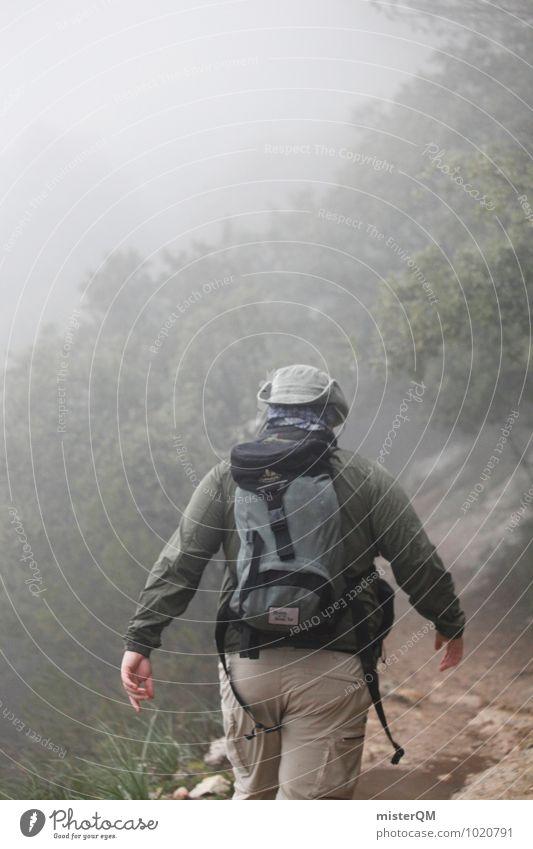 We Walk I Nature Landscape Weather Adventure Hiking Hat Human being Remote Walking Dark Mirkwood Ambiguous Exterior shot Mountain Forest Fog Shroud of fog