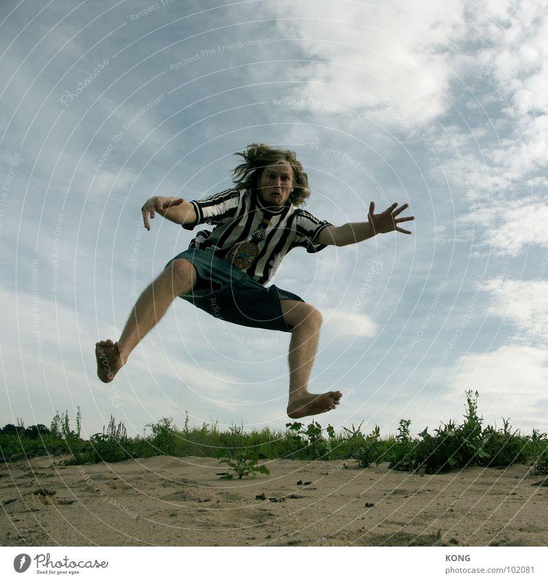 Sky Man Nature Summer Joy Clouds Playing Above Jump Tall Upward Dynamics Sportsperson Applause