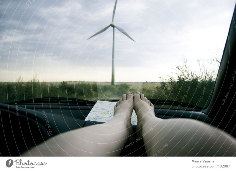Sky Vacation & Travel Clouds Dark Relaxation Feet Car Legs Weather Environment Industry Energy industry Electricity Break Wind energy plant