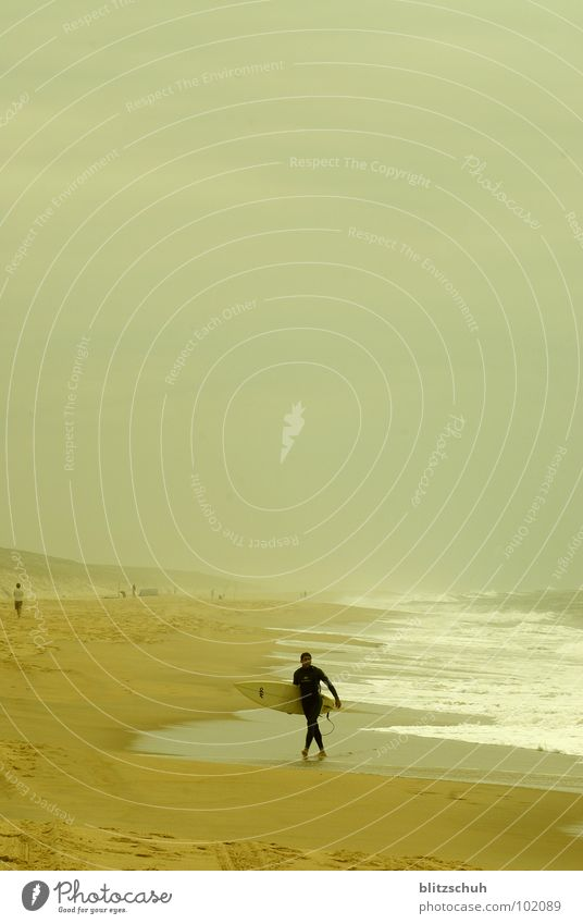 Man Nature Water Ocean Summer Beach Loneliness Far-off places Life Coast Waves France Surfing Aquatics Atlantic Ocean