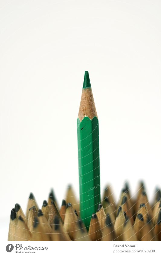 green Pen Brown Gray Green Pencil Crayon Point Ambitious Above Career Politician Wood wooden pen Multiple Assertiveness Geek Office Creativity Write Draw