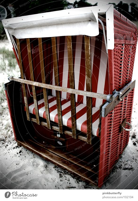 Keep out! Ocean Beach chair Waves Red Brown Vacation & Travel Rügen Wellness Stripe Basket Twilight Emotions Swell Coast Surprise Summer Relaxation Bans Closed