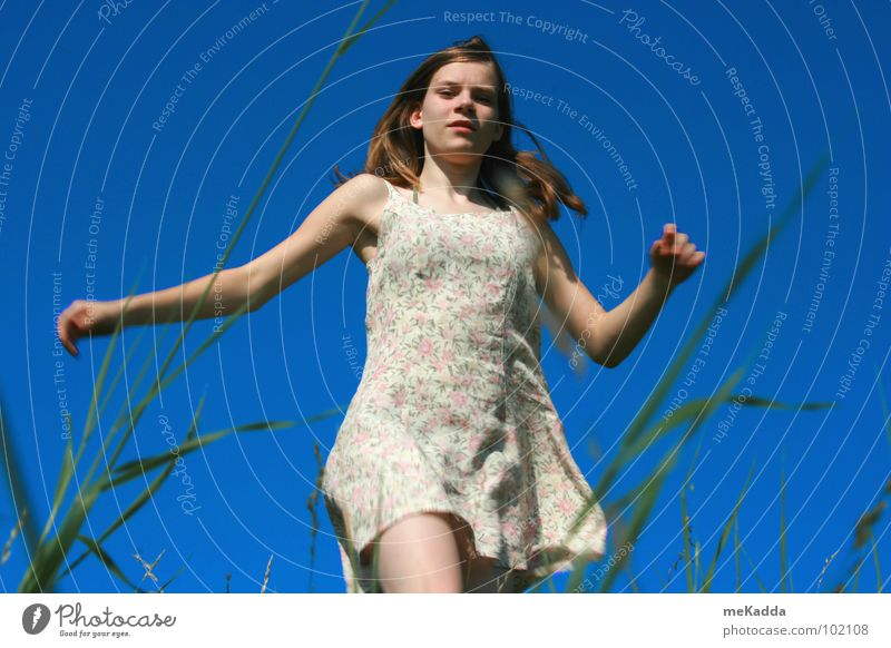 Youth (Young adults) Girl Sky Green Blue Grass Hair and hairstyles Earth Arm Wind Dress Blade of grass Child