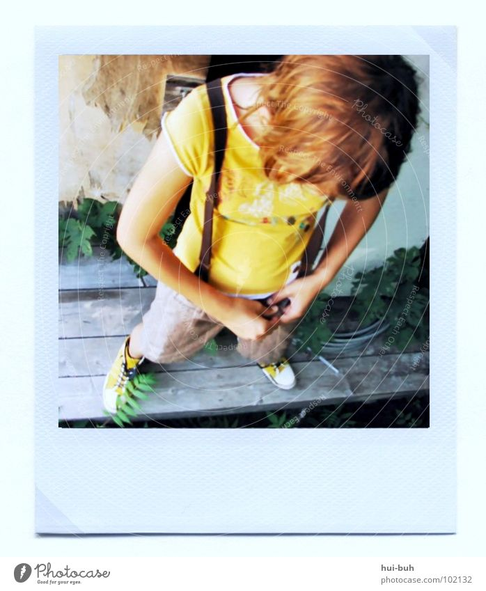 Old Style Hair and hairstyles Footwear Photography Small Polaroid Clothing Sweet Cool (slang) Broken Image Delicate Easygoing Fine Frame