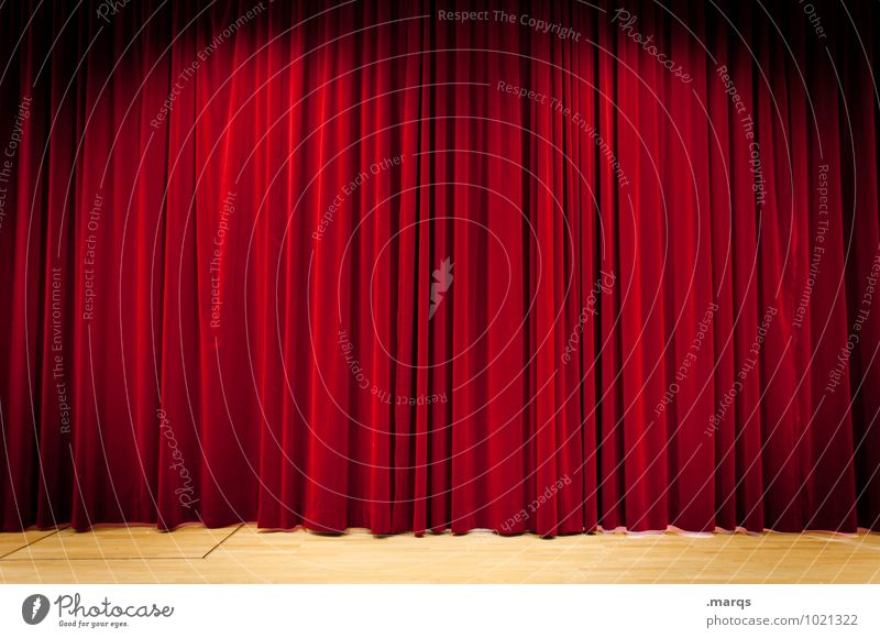 on stage Design Entertainment Event Shows Stage Cinema Opera Drape Velvet Red Curiosity Folds Concert Opening Stage lighting Colour photo Interior shot