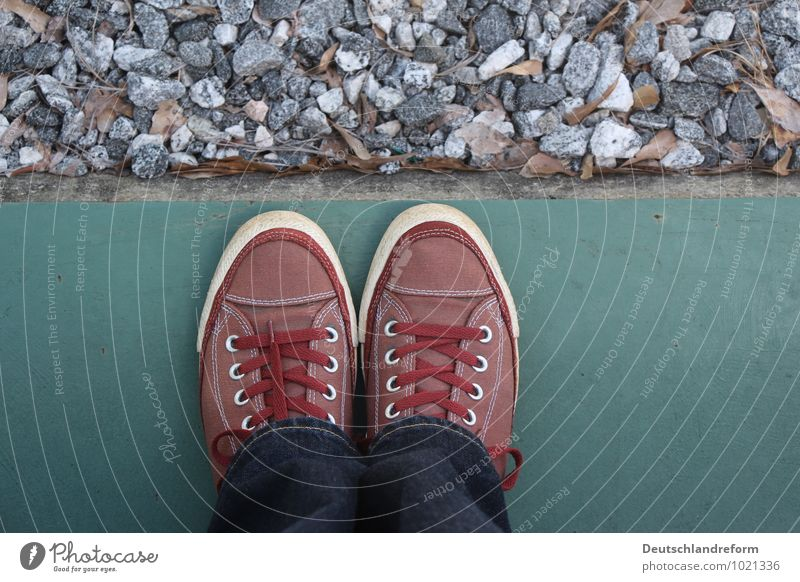 materiality Jeans Footwear Sneakers Chucks Stone Concrete Blue Gray Green Red White Symmetry converse Colour photo Exterior shot Copy Space right Day