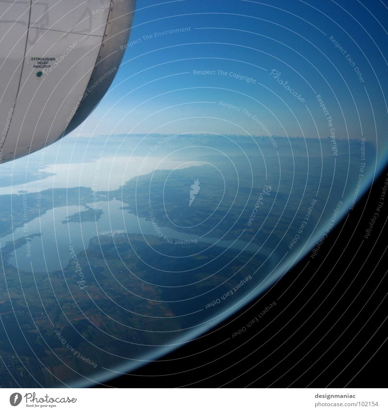 Orbiter 7 Lake Aerial photograph Astronautics Round Oval Engines Stratosphere Horizon Weightlessness Black Light blue Pure Under Hover Planet Glass ball