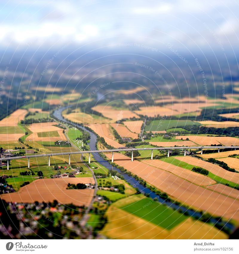 Water Street Landscape Field Germany Small Bird's-eye view Horizon Transport Bridge River Highway Surrealism The Ruhr Miniature Tilt-Shift
