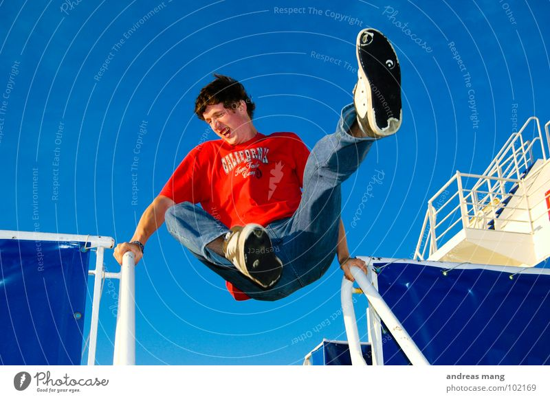 Man Blue Red Joy Vacation & Travel Jump Style Movement Watercraft Flying Stairs Action Driving Leisure and hobbies To enjoy Handrail