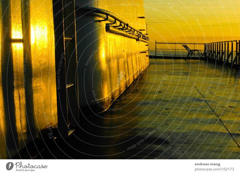 Ocean Vacation & Travel Calm Yellow Moody Orange Metal Driving Chair Leisure and hobbies Steel Ladder Navigation Handrail Dusk