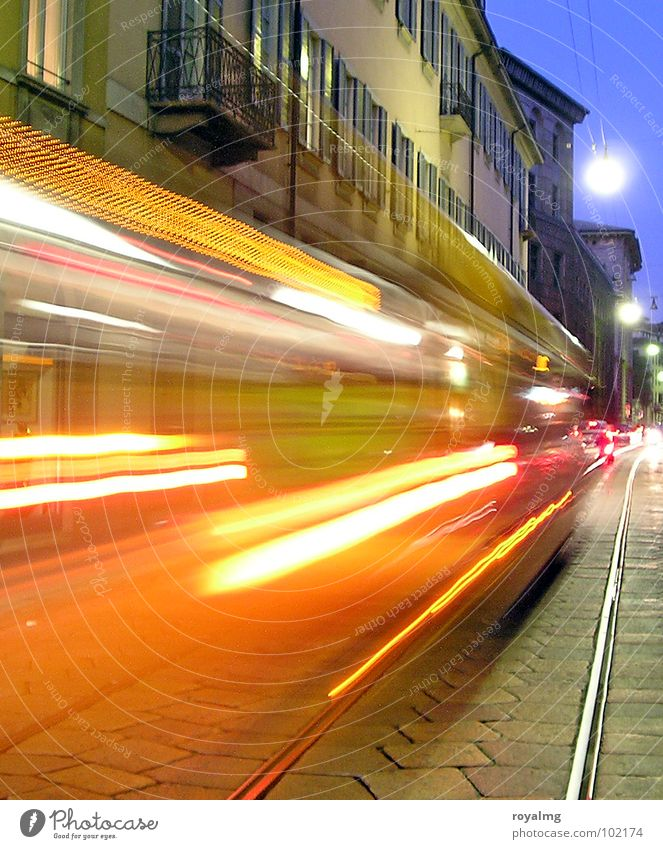 light show Light Yellow Blur Twilight Evening Railroad tracks Lamp Long exposure Tracer path Rear light Milan Transport Red Colour Italy Street Lighting Orange
