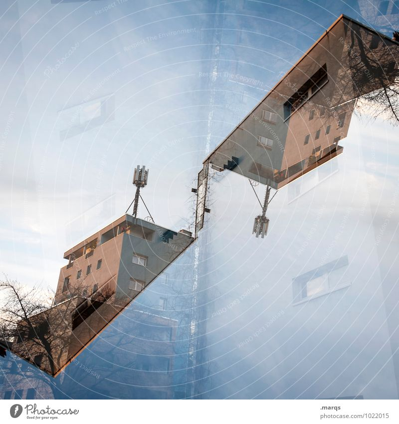 House (Residential Structure) Style Exceptional Design Living or residing Perspective Crazy Roof Cloudless sky Double exposure Surrealism Symmetry Antenna