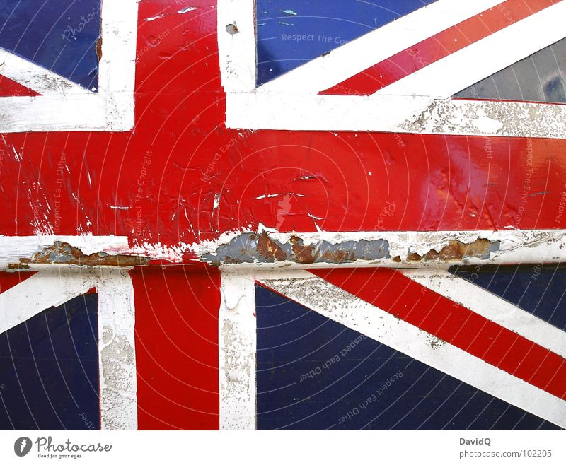 UNION JACK Varnish Rust Crucifix Flag Old Broken Blue Red White Might Colour Decline Transience Union Jack Great Britain Patriotism Europe Pop music Painted