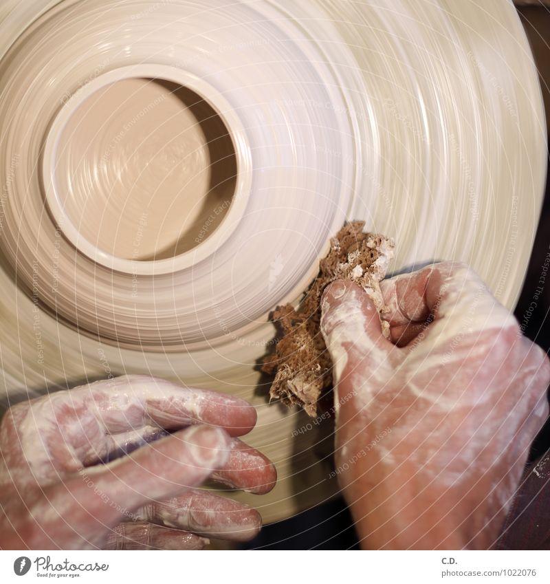 make pottery Potter Do pottery Potter's wheel Hand Work and employment Round Clay Pottery Porcelain Earthenware potter's sponge Sponge Craftsperson