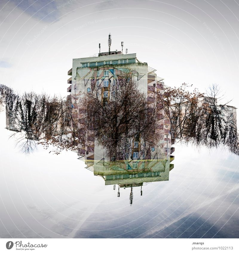 dorm Living or residing Sky Clouds Beautiful weather Bushes House (Residential Structure) High-rise Residential accommodation Exceptional Crazy Perspective