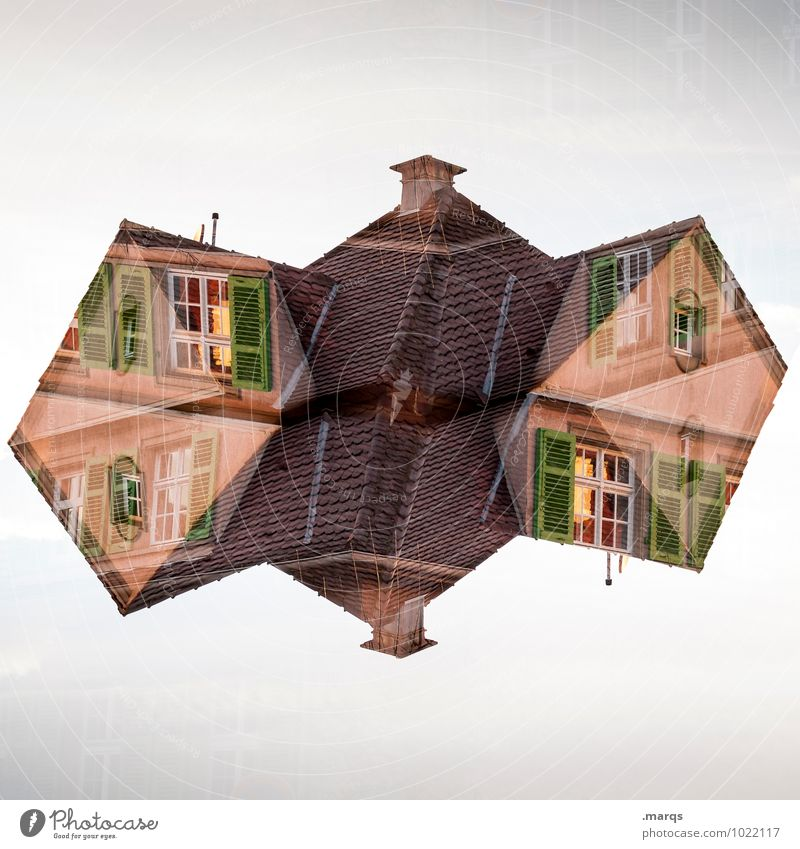 House (Residential Structure) Window Architecture Building Exceptional Facade Living or residing Perspective Crazy Uniqueness Roof Manmade structures Double exposure Surrealism Chimney Symmetry
