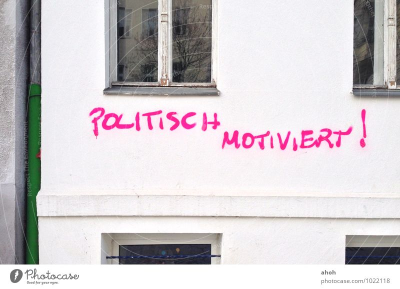 Politically motivated Berlin Germany Europe Town Deserted Wall (barrier) Wall (building) Sign Characters Graffiti To talk Communicate Trashy Pink White Chaos