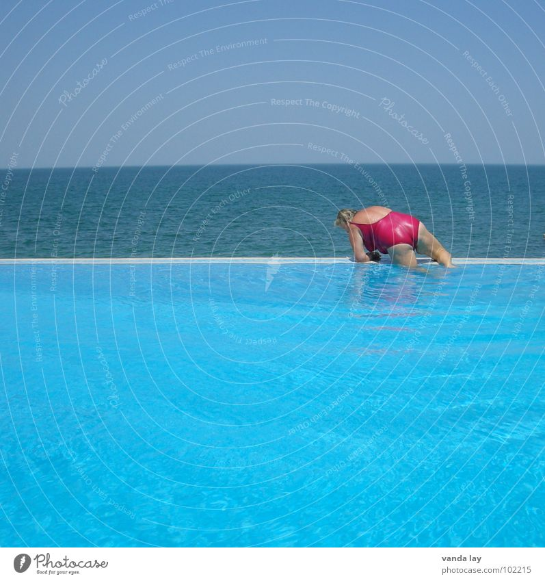 Woman Water Old Ocean Blue Summer Joy Beach Vacation & Travel Relaxation Line Coast Pink Bathroom Swimming pool Hind quarters