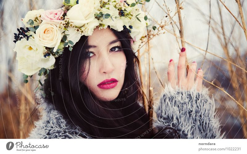 Asian flowers Woman Youth (Young adults) Beautiful Young woman Hand Flower Eroticism Winter Adults Feminine Spring Fashion Sex Blossoming Cool (slang) Beauty Photography