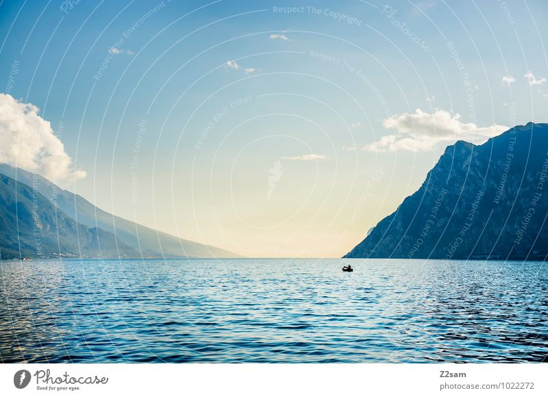 Sky Nature Vacation & Travel Blue Water Summer Relaxation Loneliness Landscape Calm Far-off places Environment Mountain Travel photography Freedom Lake