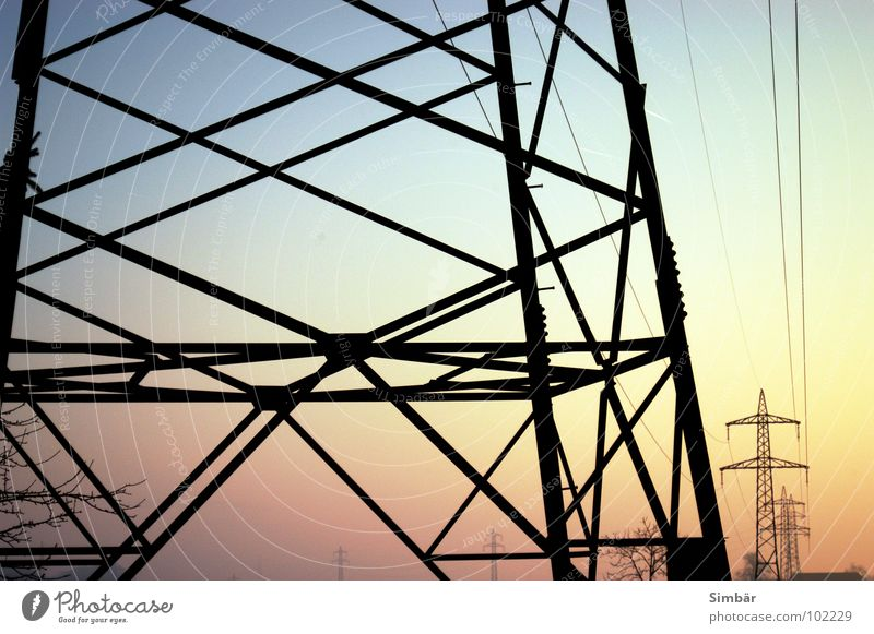 Lines, nothing but lines Pink Sunrise Sunset Red Electricity Transmission lines Sky Industry Blue Metal Scaffold Electricity pylon Cable