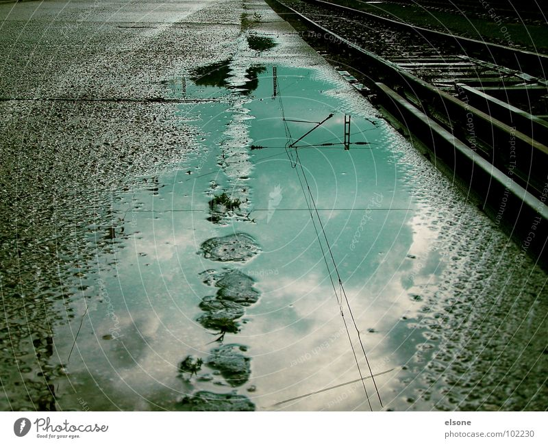 wanderlust Railroad Railroad tracks Future Wet Loneliness Puddle Reflection Concrete Steel Joint residence Transport Longing Far-off places Gray Black Riesa
